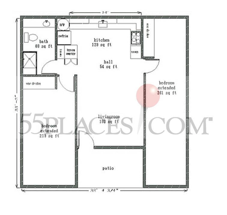 950 floorplan 950 sq ft leisure world seal beach for 950 sq ft house plans