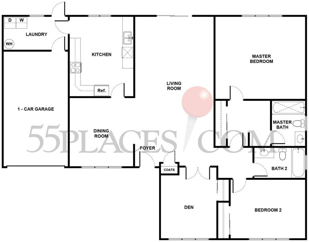 Amalfi Floorplan 1442 Sq Ft Leisure Village