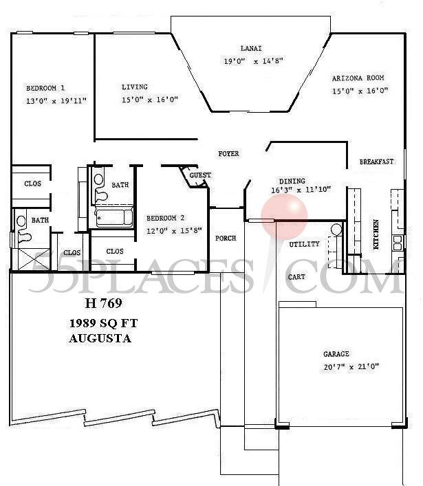 H769 Augusta Floorplan 1989 Sq Ft Sun City West