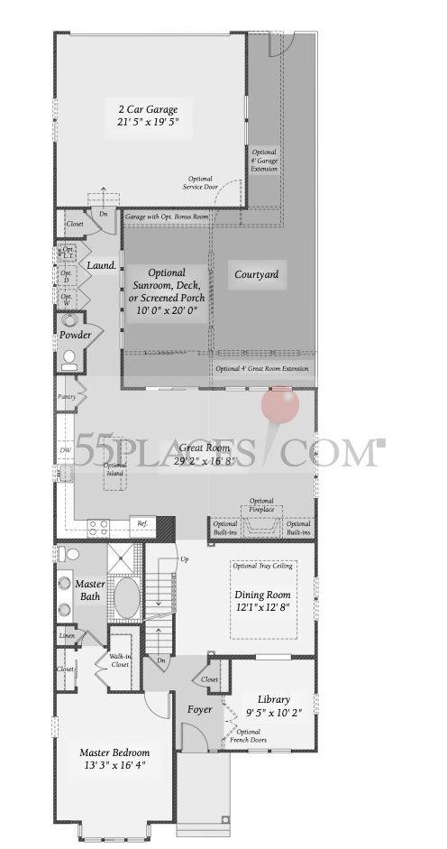 Biltmore Floorplan | The Enclave at Ellicott Hills | 55places.com