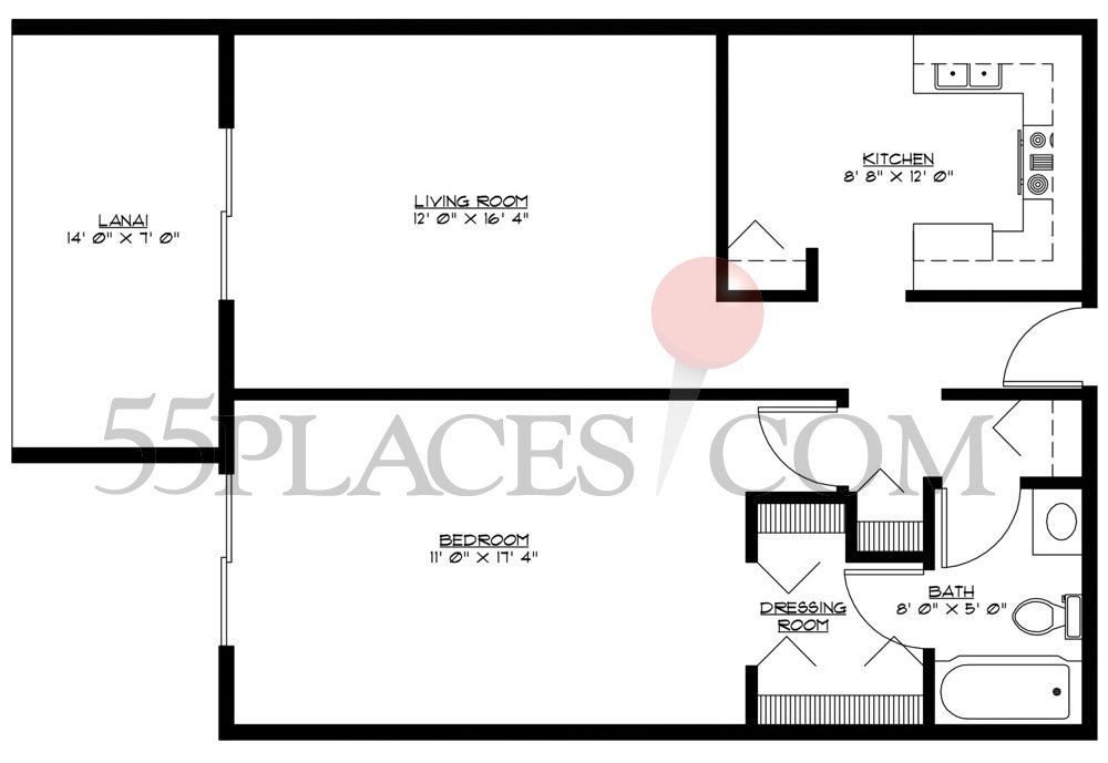 C model floorplan 720 sq ft windsor gardens for 720 sq ft apartment floor plan