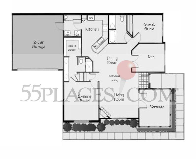 Canterbury floorplan 1660 sq ft villas at roxton for Canterbury floor plan