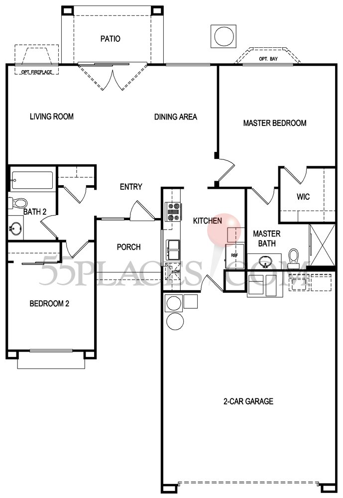 Charleston Floorplan 1003 Sq Ft Sun City Summerlin