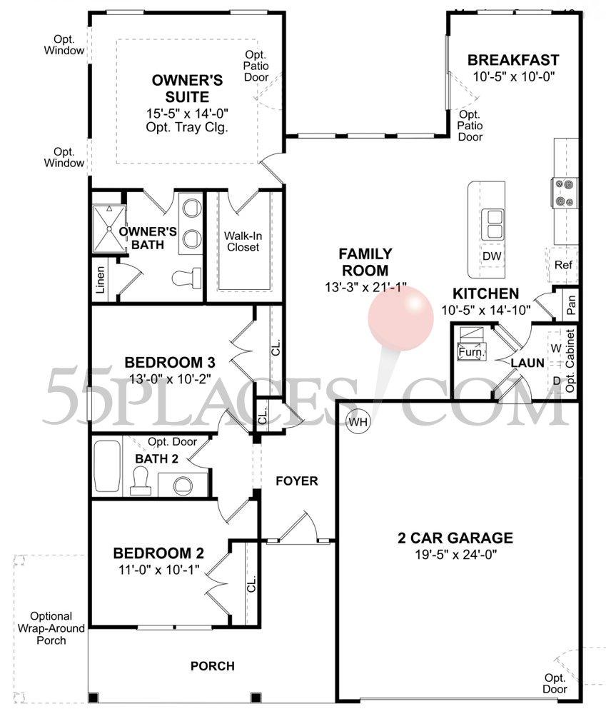 Charleston Floorplan | 1420 Sq. Ft | Longacre Village | 55places.com