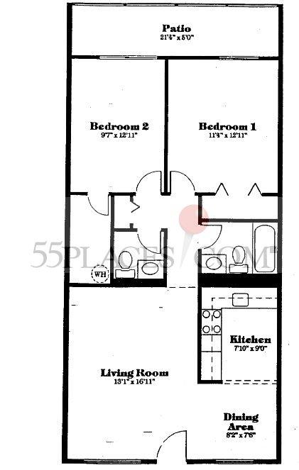 Model d floorplan 954 sq ft century village at for Floor plans villages florida