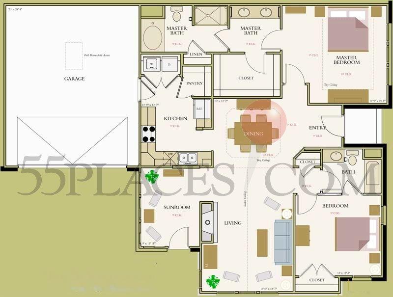 Tuscany Floorplan 1522 Sq Ft Bella Sera Villas 55places