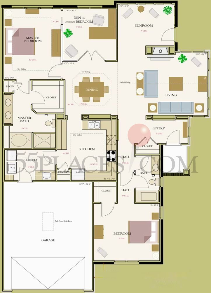 Diamante Floorplan 1990 Sq Ft Bella Sera Villas 55places
