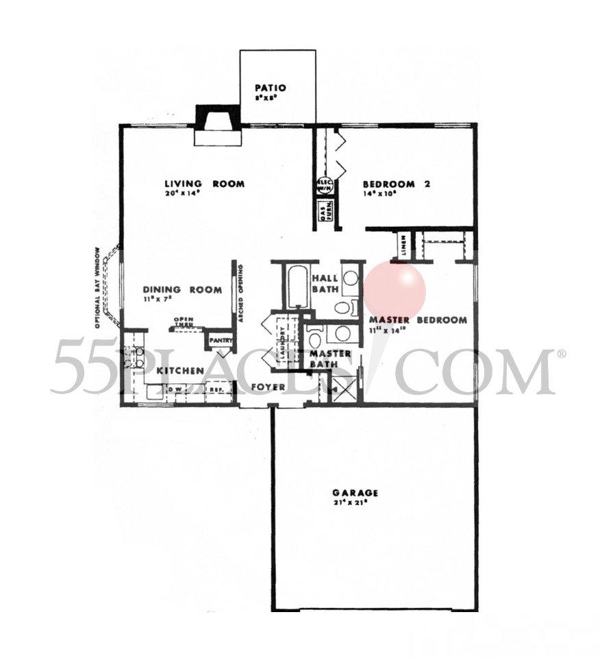 Doral Floorplan 1140 Sq Ft Fairway Village 55places