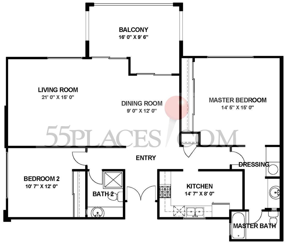 El Mirador Floorplan | 1260 Sq. Ft | Laguna Woods Village | 55places.com