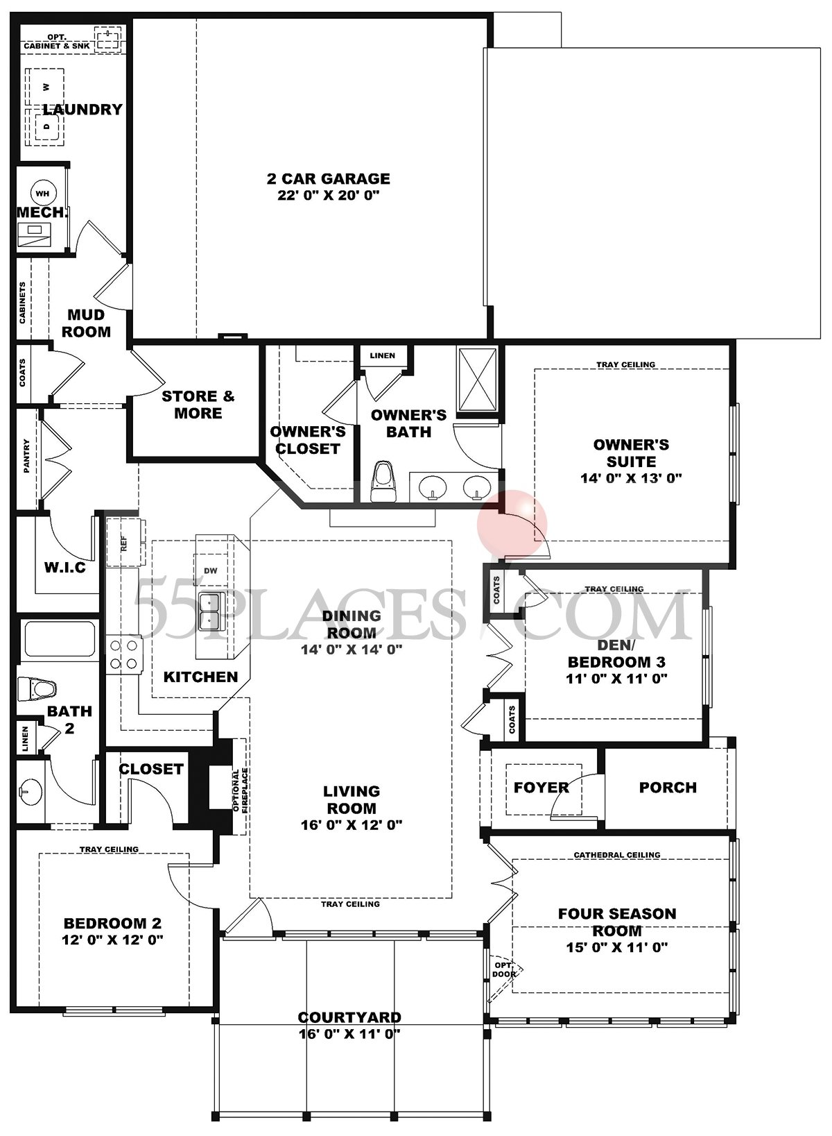 Canterbury Floorplan 1463 Sq Ft Edinburgh Village 55places