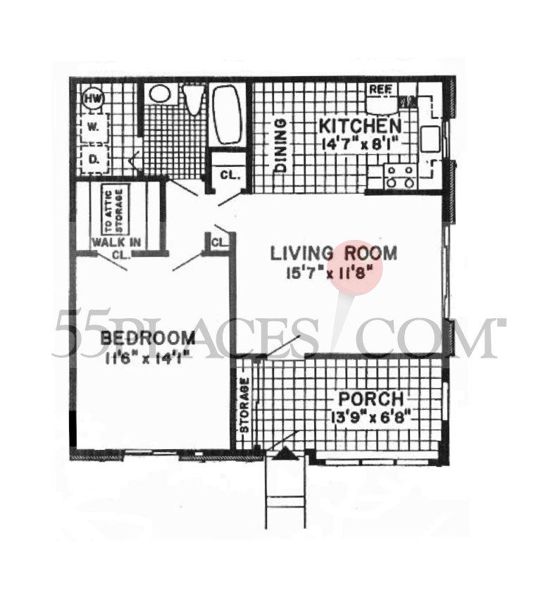 Essex Floorplan 782 Sq Ft Crestwood Village 3