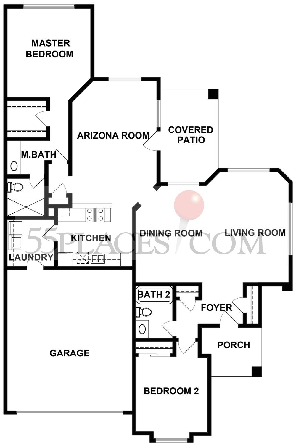 Patio homes floorplan 1541 sq ft sun city oro valley for Patio home floor plans free