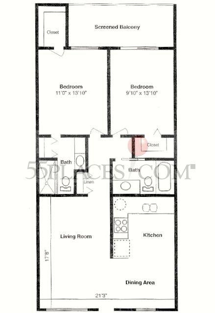 G floorplan 916 sq ft century village at boca raton for Floor plans villages florida