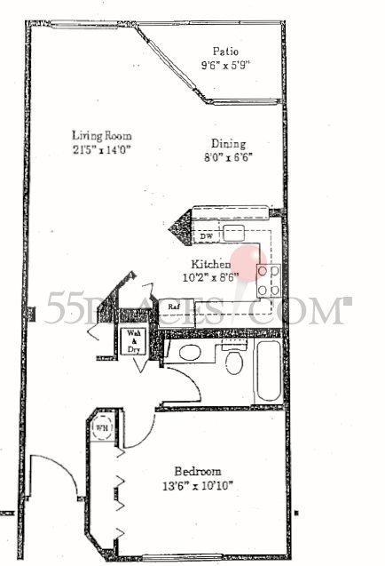 Model g floorplan 840 sq ft century village at for 840 sq ft house plans