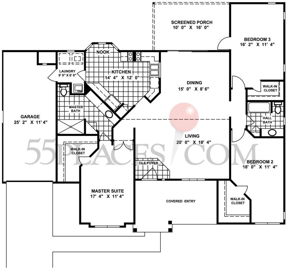 Georgetown Floorplan | 1674 Sq. Ft | Oak Run | 55places.com