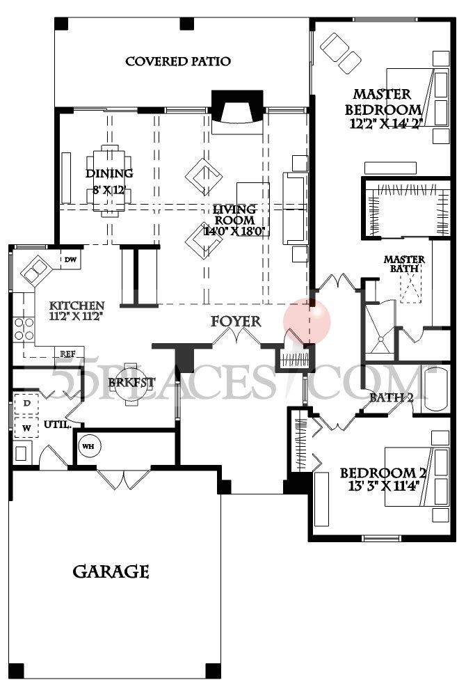 Hopi Floorplan 1500 Sq Ft Sun Lakes 55places Com