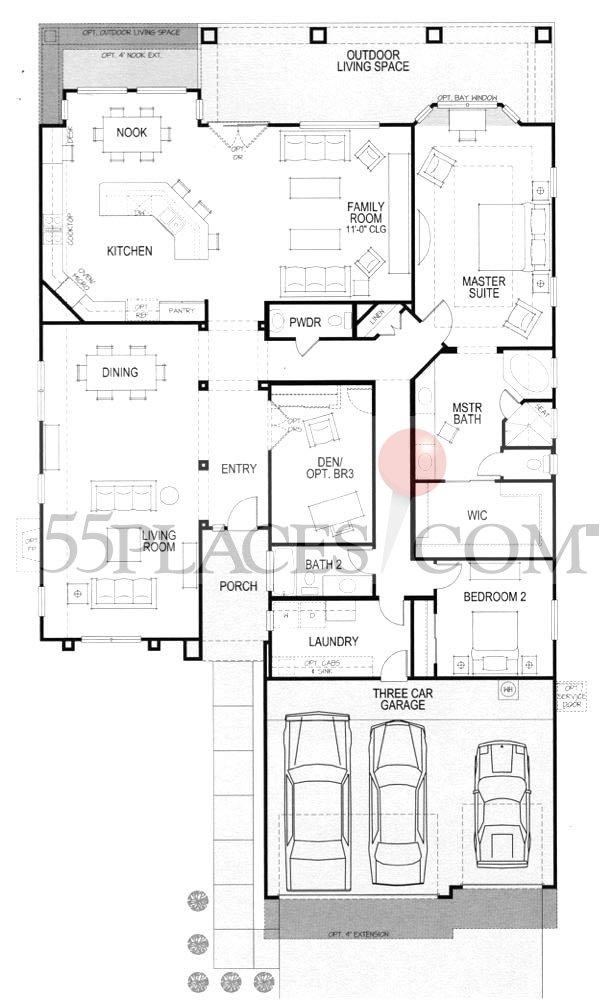 Marbella Floorplan | 2838 Sq. Ft | Robson Ranch - Texas | 55places.com