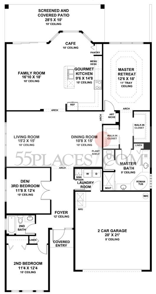 Mediterranean floorplan 2097 sq ft valencia lakes - Mediterranean house floor plan and design ...