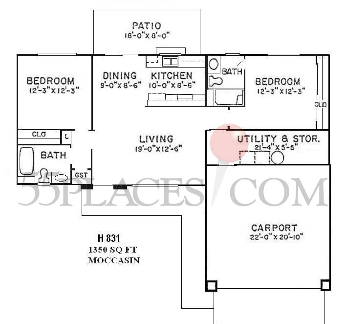 H831 moccasin floorplan 1350 sq ft sun city west for 1350 sq ft house plan