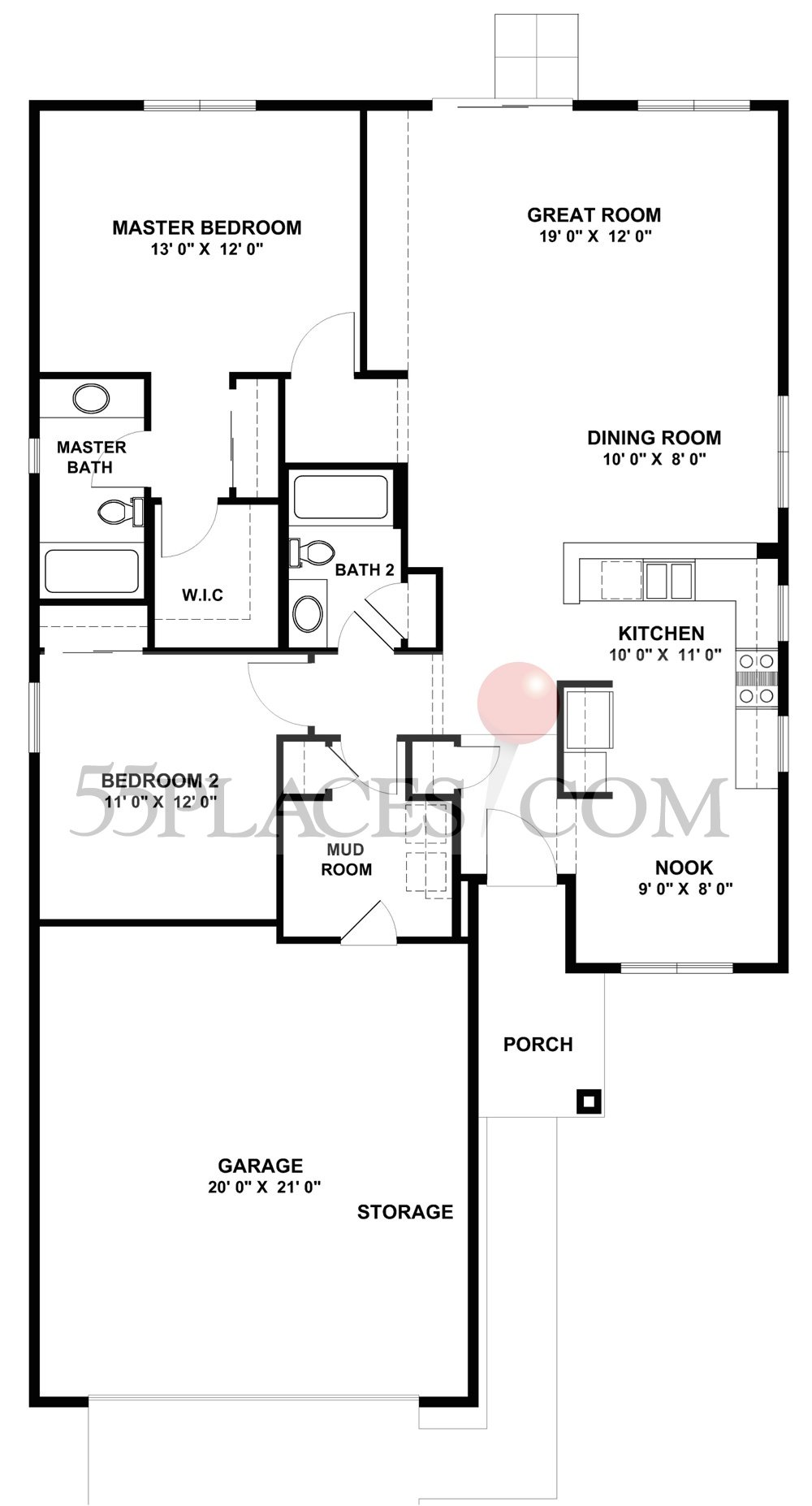 Nicolet Floorplan 1351 Sq Ft Sun City Huntley