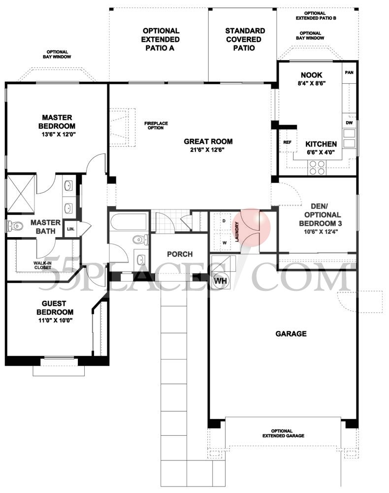 San carlos floorplan 1380 sq ft continental ranch for Continental homes floor plans arizona