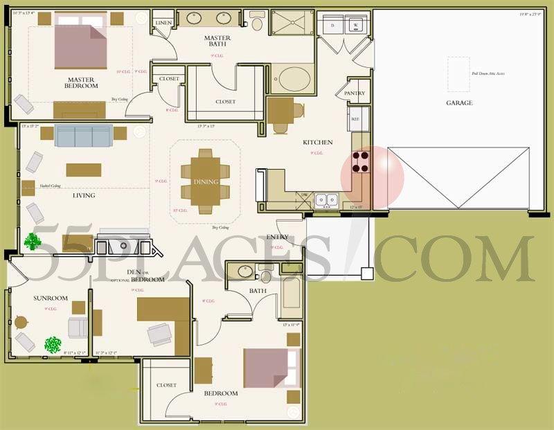 San Marco Floorplan 1767 Sq Ft Bella Sera Villas 55places