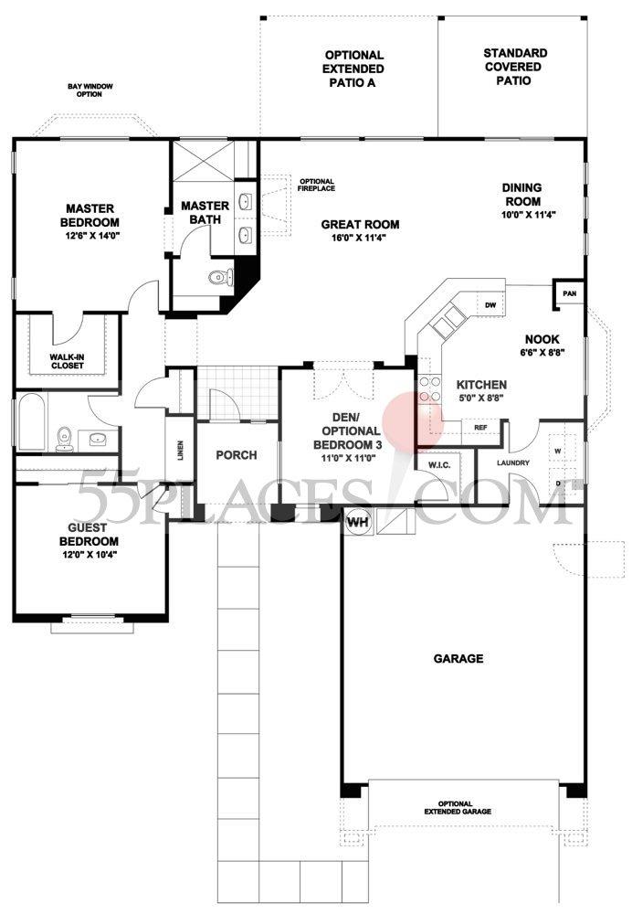 San marcos floorplan 1543 sq ft continental ranch for Continental homes floor plans arizona