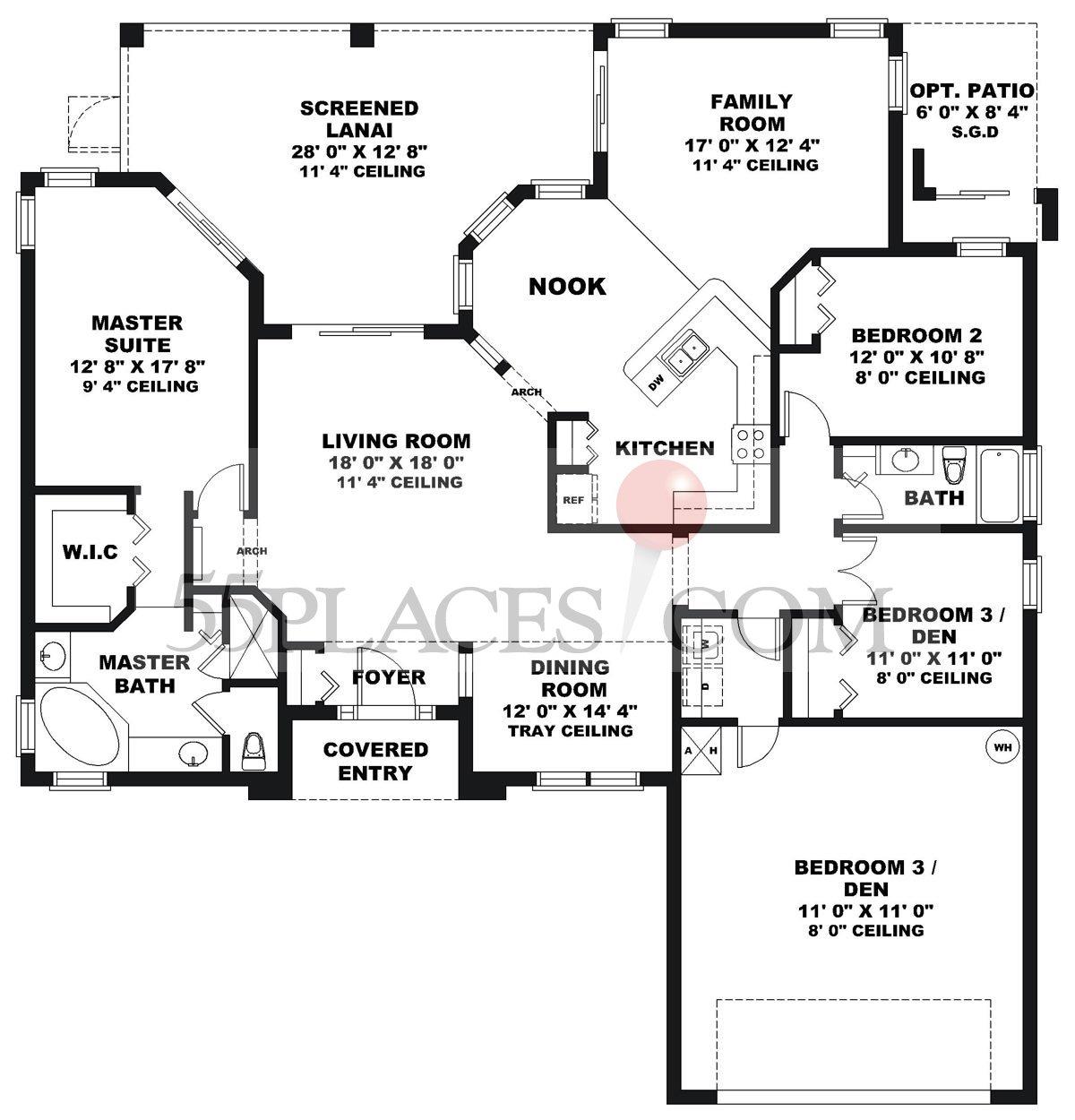 St augustine floorplan 2130 sq ft legacy of leesburg for Flooring st augustine