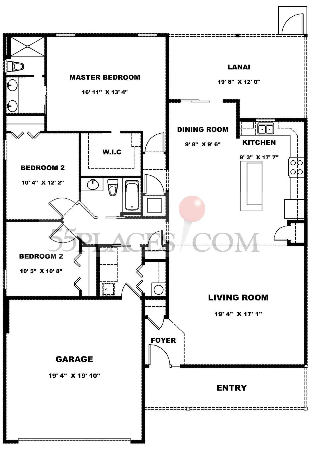 Hammock Floorplan 1635 Sq Ft The Villages