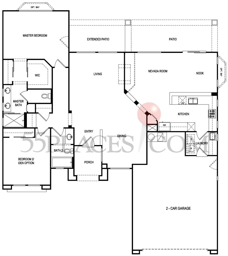 Versailles floorplan 1680 sq ft sun city summerlin for Versailles house floor plan