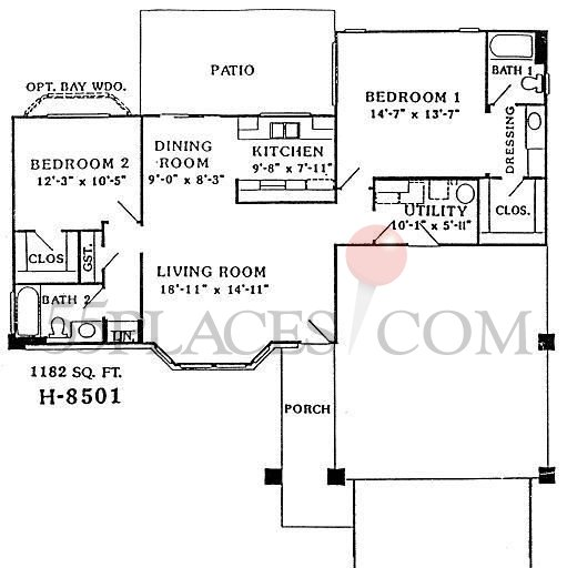 H8501 Wellington Floorplan 1182 Sq Ft Sun City West